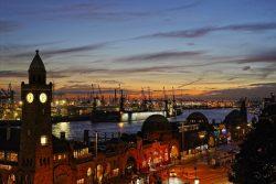 Hamburg harbor after sundown